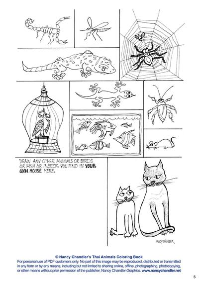Nancy Chandler\'s Thai Animal Coloring Book Digital Edition