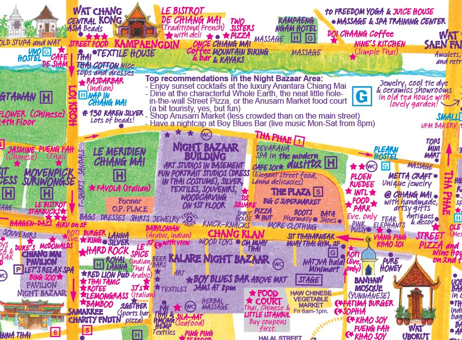 Detailed Travel Map of Chiang Mai by Nancy Chandler