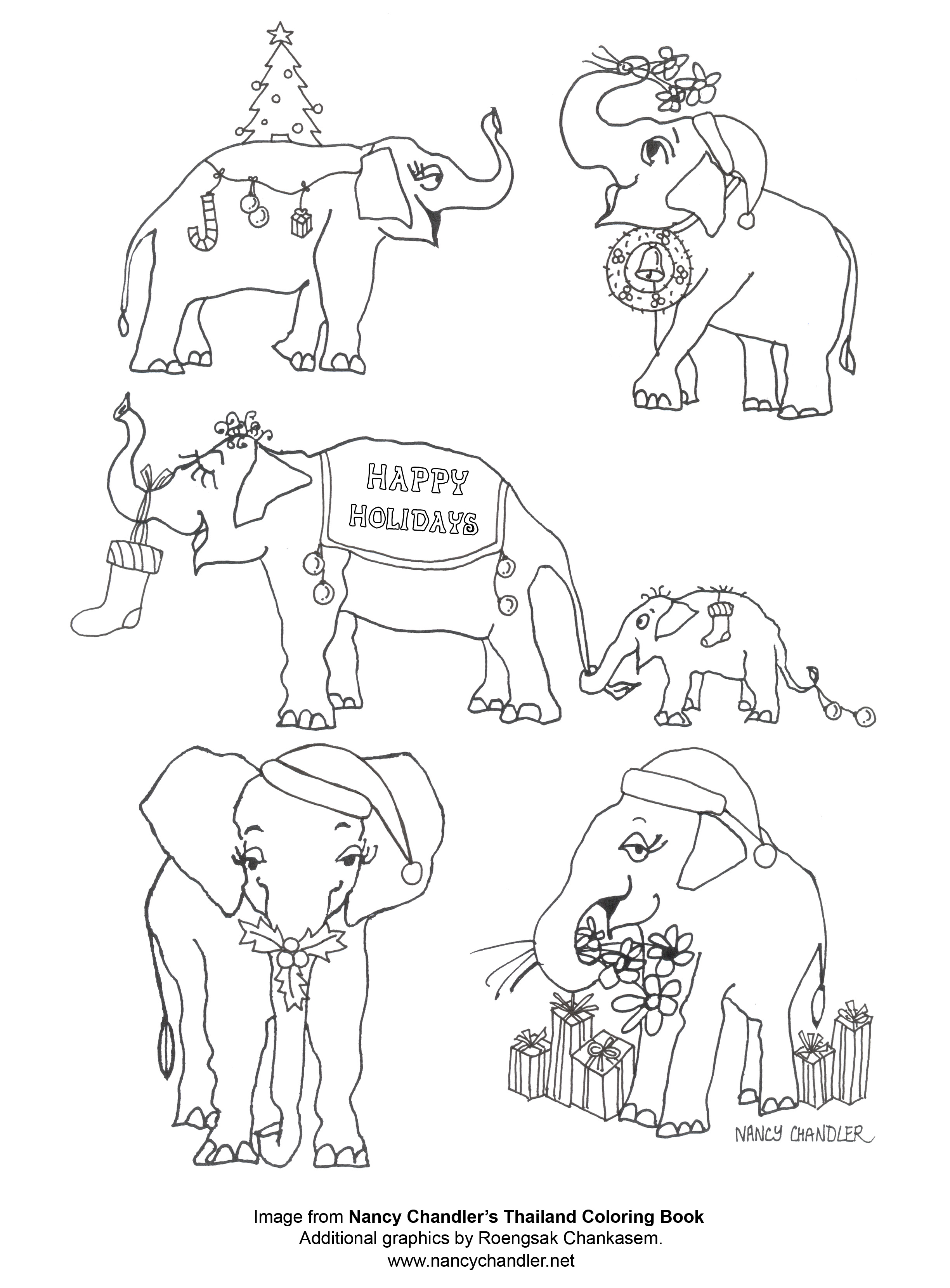 Nancys Christmas Elephants Coloring Page