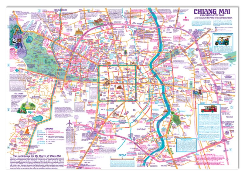 Nancy Chandler's Map of Chiang Mai Enlarged City Poster on